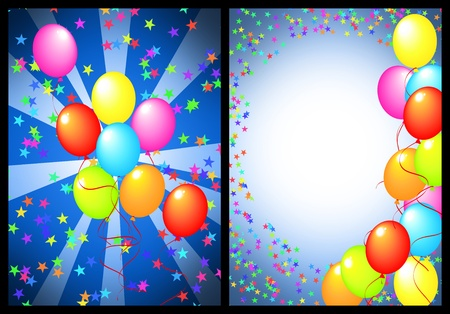 happy birthday greeting card with balloon and star. includes the front and back of the card. photo