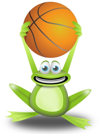 frog calls to play basketball with the ball in the hands
