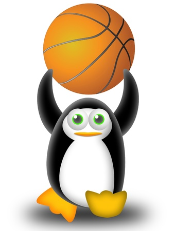 penguin calls to play basketball with the ball in the hands Stock Photo