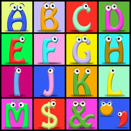 Funny cartoon alphabet. Useful also for educational or preschool books for kids Stock Photo - 9598992