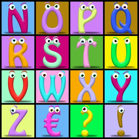 Funny cartoon alphabet. Useful also for educational or preschool books for kids photo