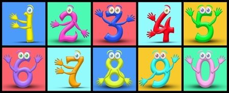 Funny cartoon numbers. Useful also for educational or preschool books for kids Stock Photo - 9598991