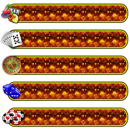 set of five banners of gambling. black background for easy cutting. measures are proportional to the standard photo