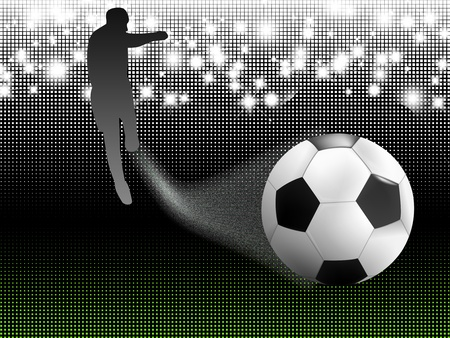 abstract Soccer background with the ball, stadium lights and soccer player Stock Photo