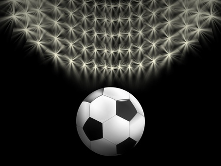 abstract Soccer background with the ball and stadium lights