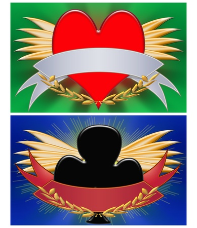 king and queen of hearts: two illustrations emblems poker with stripe, abstract background.  Stock Photo