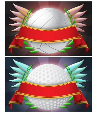 two illustrations emblems sport with red stripe, abstract background.