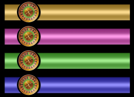 set of four banners of casino roulette . black background for easy cutting. measures are proportional to the standard Stock Photo - 10331378