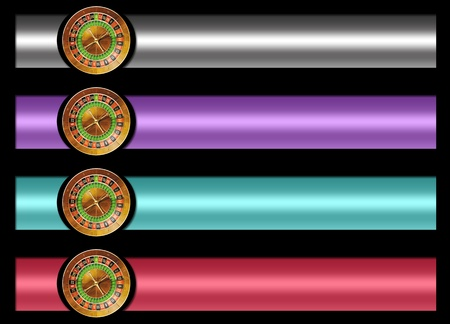 set of four banners of casino roulette . black background for easy cutting. measures are proportional to the standard