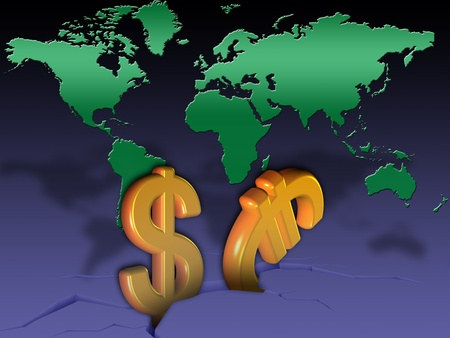 symbols of the world economy collapse
