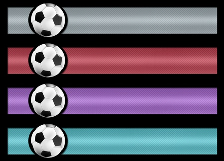 set of four soccer banner. measures proportional to the standard, black background for easy cutout Stock Photo