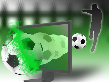 The TV monitor is broken by the soccer ball from the game broadcast. concept of 3D television