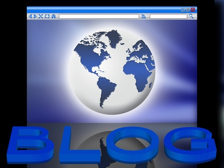 blog: 3d text with reflection. the world in the browser window Stock Photo - 10411107