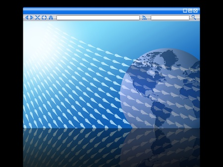 world in the browser window with arrows. concept of internet traffic Stock Photo
