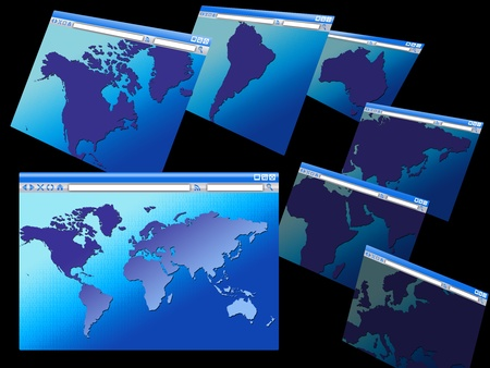 browser windows with maps of various continents and the world. binary code background. concept of internet Stock Photo