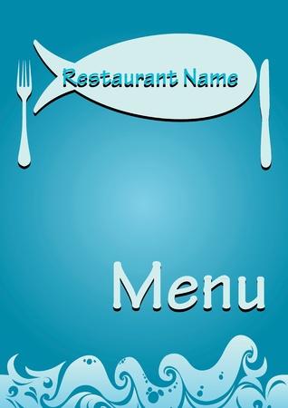 fine cuisine: modello di menu ristorante di pesce. illustrazione proporzionale