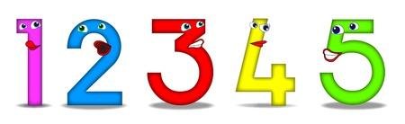 five objects: Numeri di cartoni animati divertenti Utile anche per i libri scolastici o per bambini in et� prescolare