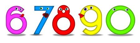 cartoon numbers: N�mero de divertidos dibujos animados �tiles tambi�n para los libros educativos o preescolar para los ni�os