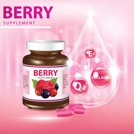 Berries dietary supplement banner vector illustration