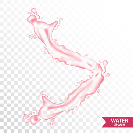 Pink water , juice splash vector illustration