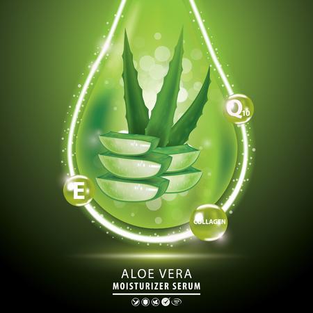 Aloe Vera collagen vitamin skin care cream, serum banner vector illustration.