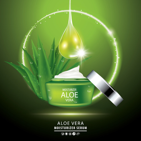 Aloe vera collagen vitamin skin care cream, serum banner vector illustration. Illustration