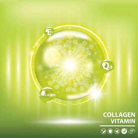 Green collagen vitamin droplet banner vector illustration. Stock Illustratie