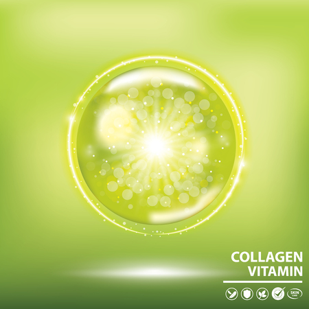 Green collagen vitamin droplet banner vector illustration. Çizim