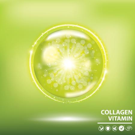 Green collagen vitamin droplet banner vector illustration. Illustration