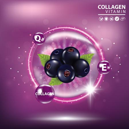 Black currant collagen vitamin skin care cream , serum banner vector illustration