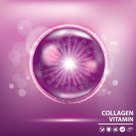 Purple collagen vitamin banner vector illustration Vettoriali