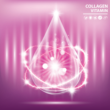 Purple collagen vitamin banner vector illustration Illusztráció