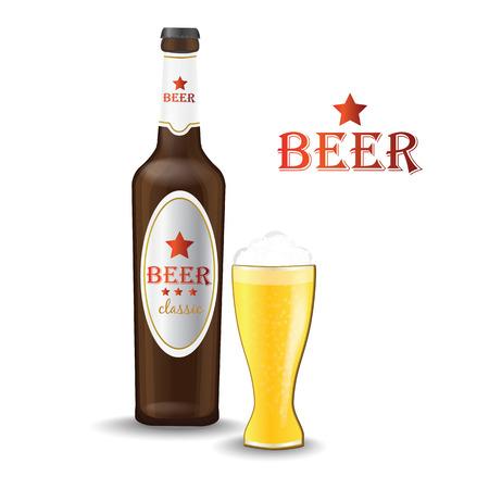 beer bottle and beer glass vector illustration