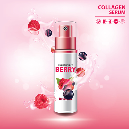 Berry collagen vitamin skin care moisturizer banner vector illustration  イラスト・ベクター素材