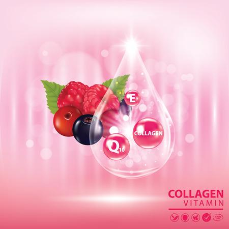 Berries collagen vitamin banner vector illustration Illustration