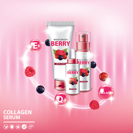Berry collagen vitamin skin care serum set banner vector illustration