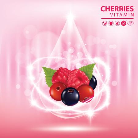Cherries vitamin banner vector illustration