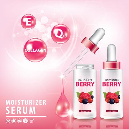 Berries collagen vitamin skin care serum banner vector illustration