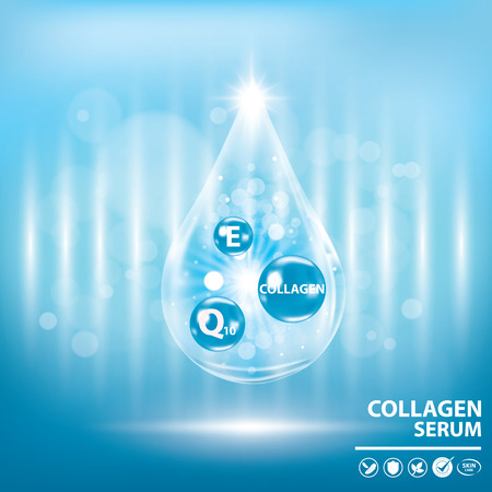Blue collagen vitamin droplet banner vector illustration Stock Illustratie