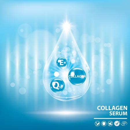 Blue collagen vitamin droplet banner vector illustration Illustration