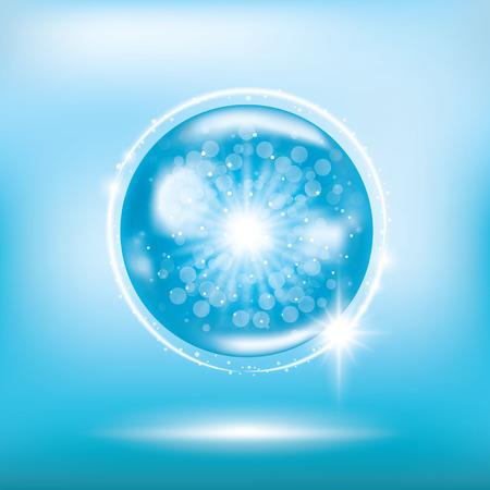 Blue collagen vitamin banner vector illustration.