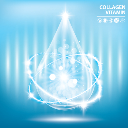 Blue collagen vitamin droplet banner vector illustration