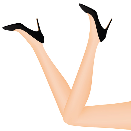 Slim leg and shoes vector illustration on white background. Illustration
