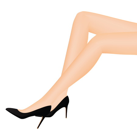 Slim leg and shoes vector illustration on white background. Illustration