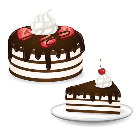 Illustrazione vettoriale torta al cioccolato Archivio Fotografico - 96757220