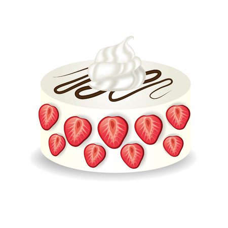 strawberry cake vector illustration