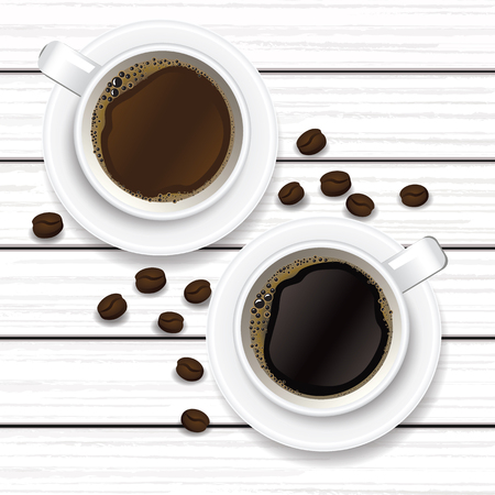 cup of coffee and coffee beans on white wood vector illustration Vectores