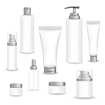 Set gray packages for face and body cosmetic. lotion, serum, oil, tube, shampoo, cream bottles vector illustration
