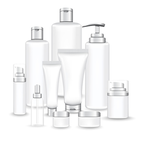 Set silver packages for face and body cosmetic. lotion, serum, oil, tube, shampoo, cream bottles vector illustration Illustration