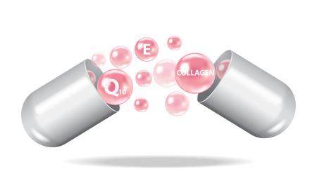 Open capsule vector illustration with vitamins Illusztráció